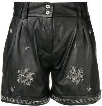 Dondup rhinestone-embellished leather shorts