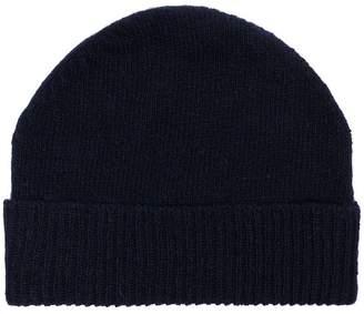 Thom Browne Navy wool striped beanie