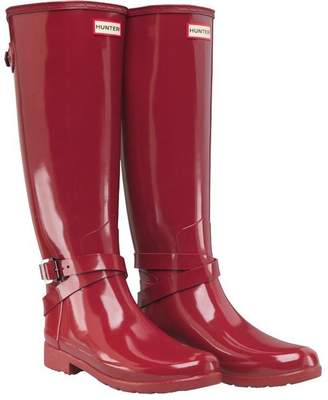 Hunter Womens Refined Adjustable Ankle Strap Gloss Wellington Boots Scarlett