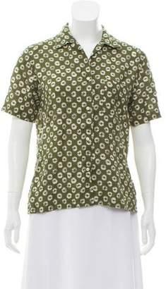 Stella Jean Linen Short Sleeve Button-Up Top