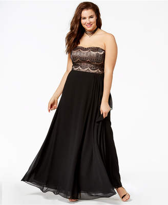City Chic Trendy Plus Size Strapless Pleated Gown