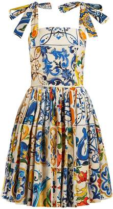 Dolce & Gabbana Majolica-print cotton-poplin mini dress