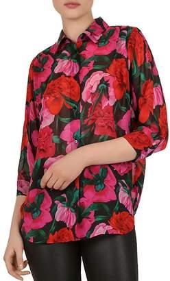 The Kooples Dolce Vita Floral-Print Silk Shirt