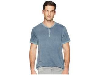 John Varvatos Short Sleeve Henley with Reverse Spray K3837U2B Men's Clothing