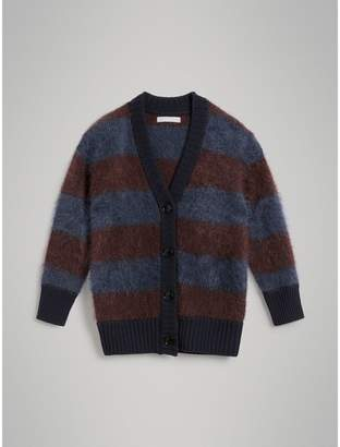 Burberry Childrens Tri-tone Striped Mohair Blend Cardigan