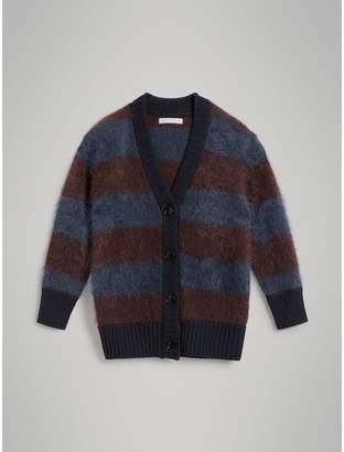 Burberry Tri-tone Striped Mohair Blend Cardigan