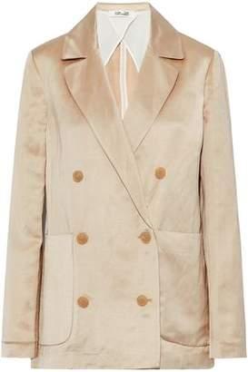 Diane von Furstenberg Double-Breasted Linen-Blend Satin Jacket