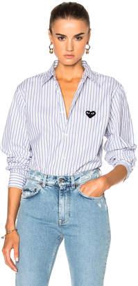 Comme Des Garcons PLAY Broad Stripe Cotton Button Down $285 thestylecure.com