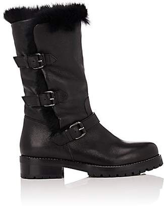 Sartore Women's Fur-Lined Moto Boots - Black