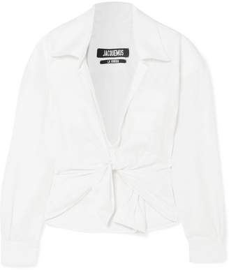 Jacquemus Pavia Tie-front Cropped Twill Shirt - White