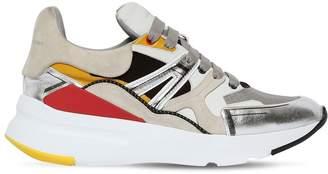 Alexander McQueen 50mm Metallic Leather & Suede Sneakers