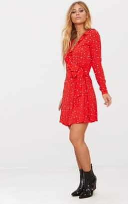PrettyLittleThing Red Star Print Frill Wrap Tea Dress