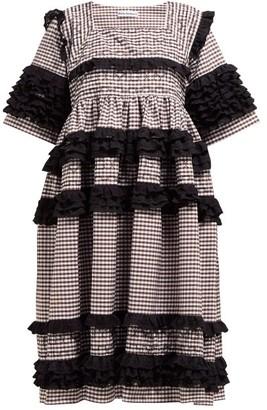 Molly Goddard Elodie Ruffled Gingham Cotton Midi Dress - Womens - Brown