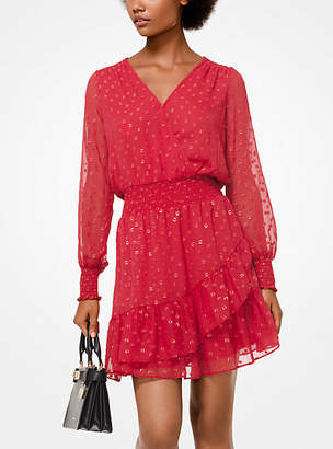 Michael Kors Dot Jacquard Ruffled Dress