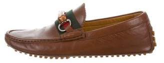 Gucci Leather Bamboo-Horsebit Driving Loafers