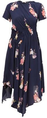 Preen Line Verna Floral Print Crepe De Chine Midi Dress - Womens - Navy Multi