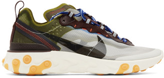 Nike Green and Brown React Element 87 Sneakers