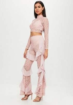 Missguided Carli Bybel x Pink Lace Ruffle Pants