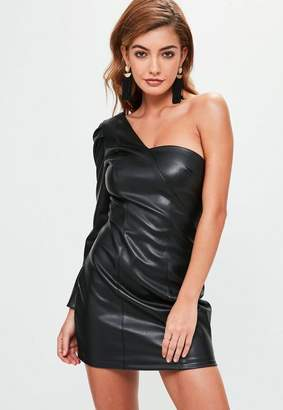 Missguided Black Faux Leather Bodycon Dress, Black