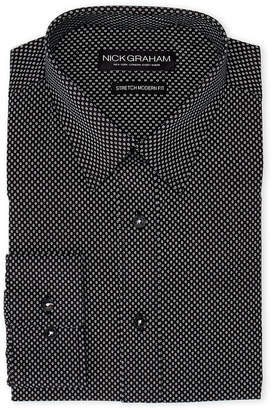 Nick Graham Black Circle Print Stretch Modern Fit Dress Shirt