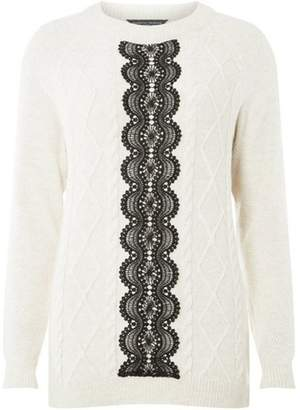 Dorothy Perkins Womens **Tall Oatmeal Lace Panel Jumper