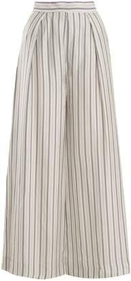Zimmermann Painted Heart wide-leg striped satin trousers