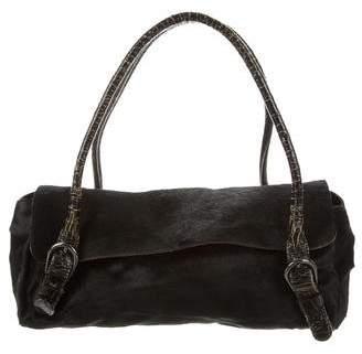 Miu Miu Leather-Trimmed Ponyhair Bag