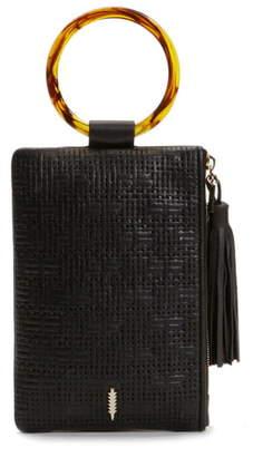 THACKER Nolita Tortoiseshell Ring Handle Leather Clutch