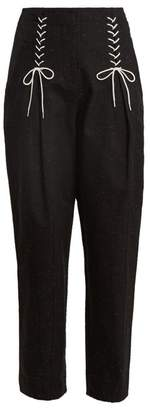 Tibi Easton Tweed Lace Up Detail Trousers - Womens - Black