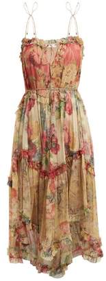 Zimmermann Melody Floating Floral Print Silk Dress - Womens - Pink Multi