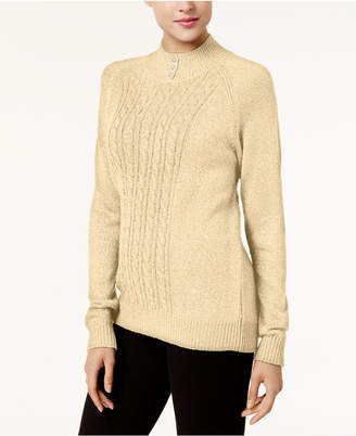 Karen Scott Cable-Knit Faux-Pearl-Button Sweater