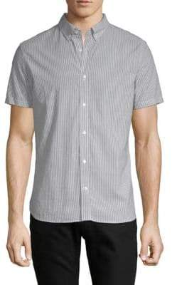 J. Lindeberg Striped Short-Sleeve Cotton Button-Down Shirt