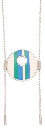 Marni Striped Leather Necklace - Womens - Blue