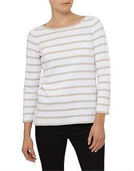David Jones Stripe Boat Neck 7/8 Pull Over