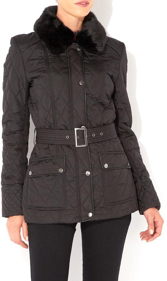 Wallis Black Faux Fur Collar Padded Coat