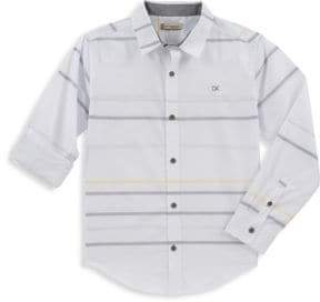 Calvin Klein Jeans Boy's Sterling Horizontal Striped Collared Shirt