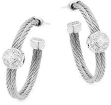 Alor 18K White Gold, Stainless Steel & Diamond Hoop Earrings