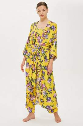 Topshop Yellow Floral Long Robe