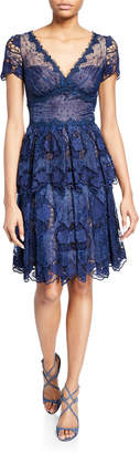 Marchesa V-Neck Short-Sleeve Floral Eyelet Organza & Scalloped Guipure Lace Dress