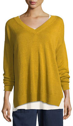 Eileen Fisher Linen Knit V-Neck Top