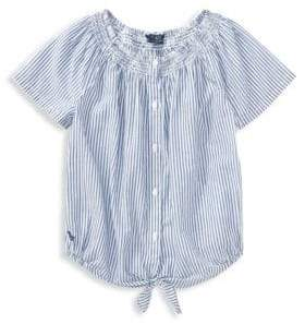Ralph Lauren Little Girl's& Girl's Striped Smocked Cotton Top