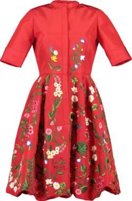 Oscar de la Renta Balloon Bottom Embroidered Dress