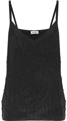 L'Agence Jezebel Fringed Beaded Satin Top