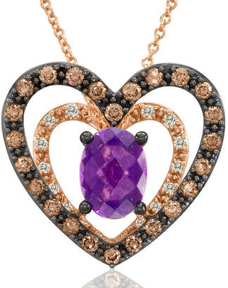 LeVian CORP LIMITED QUANTITIES Grand Sample Sale by Le Vian Grape Amethyst and 1/2 CT. T.W. Vanilla Diamonds & Chocolate Diamonds 14K Strawberry Gold Le Vian C