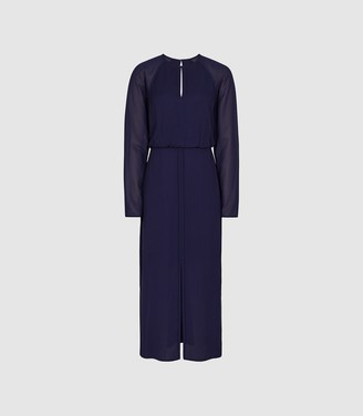 Reiss Mylee - Keyhole Midi Chiffon Dress in Purple