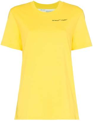 Off-White yellow logo embroidered short sleeve cotton t shirt