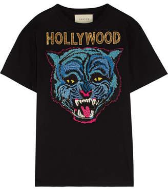 Gucci Appliquéd Cotton-jersey T-shirt - Black