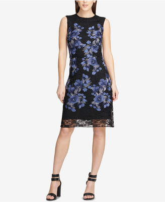DKNY Embroidered Lace Floral Sheath Dress