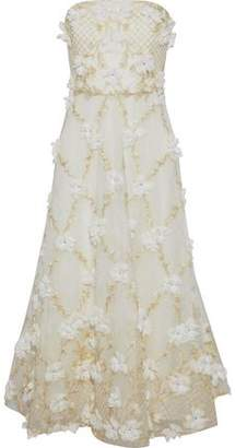 Marchesa Strapless Floral-Appliquéd Embroidered Lace Gown