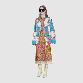 Gucci Padded nylon jacket with flowers and tassels